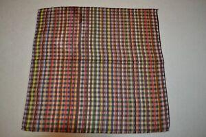 Paul Smith Mainline Multi Striped Check Cotton Pocket Square Mens Brand New