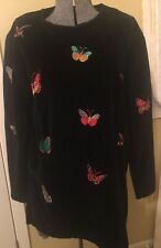 VINTAGE NEIMAN MARCUS BLACK VELOUR BUTTERFLY EMBROIDERED TUNIC/MINI DRESS USA