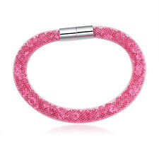 Made With Swarovski Crystal ELEMENTS Mesh Stardust Magnetic Bracelet Pink