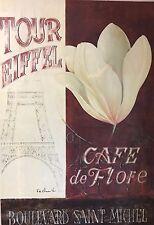 Fabrice de Villeneuve Stretched Canvas Rare Art Print Cafe de Flore Tour Eiffel