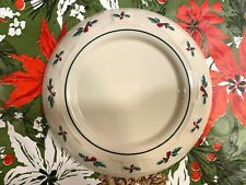 """Longaberger Traditional Holly Pottery Pillar Candle Holder Under Plate 7 1/4"""""""