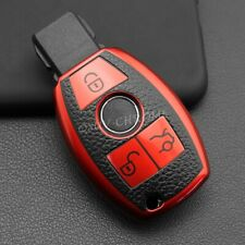 FOR Mercedes-Benz A B C E S G M V Class Red TPU Leather Smart Key Fob Case Cover