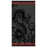Serviette de plage Drap de bain Dragon noir, fond gris, Jacquard beach towel