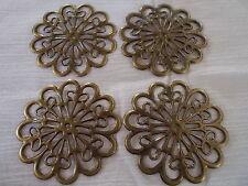 4 x round metal flower embellishments , anitque bronze colour, 6cm x 6xm