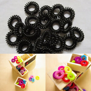 1/20/100PCs Plastic Elastic Hair Ties Colorful Extendable Coiled Wire Rings Gift