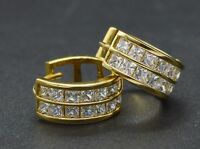 #JM230 Channel Set CZ princess Huggie Earrings 14K Yellow Gold Clad Real Silver