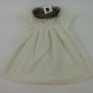 New JANIE AND JACK Faux Fur Dress Top Shirt Size 12-18 Months Button Pullover D4