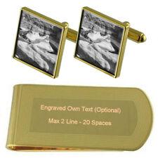 Desert Grand Canyon Gold-Tone Cufflinks Money Clip Engraved Gift Set