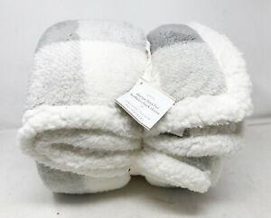 "Pottery Barn Buffalo Check Plaid Sherpa Faux Fur Backed Throw Blanket 50"" X 70"""