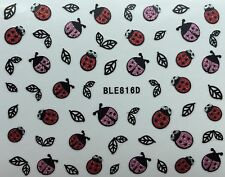 Nail Art 3D Glitter Decal Stickers Ladybugs Leaves BLE816D