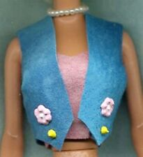 Barbie Doll Clothes - Turquoise Decorated Vest - Genuine Suede Leather - Linhill