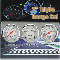 2'' 52mm Oil Pressure Amp Meter Water Temp Triple Gauge 3 in 1 Set Chrome  //