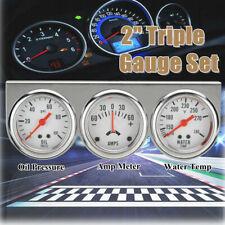 2'' 52mm Oil Pressure Amp Meter Water Temp Triple Gauge 3 in 1 Set Chrome  //