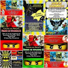 Personalised LEGO BATMAN NINJAGO Photo Birthday Invitation + MagnetS