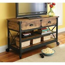 Rustic TV Stand Console 2 Drawers Restoration Industrial Vintage Look & Hardware