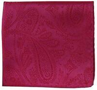 New Brand Q Men/'s  micro fiber Pocket Square Hankie Only paisley Burgundy formal