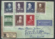 Austria 1948 MI 878-884 cens R-Airmailcover to Gerardmer