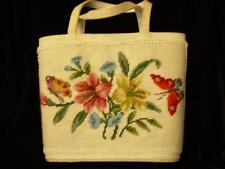 Vintage Needlepoint Purse/Handbag with Lilies, Morning Glories and Butterflies