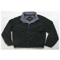 Port Authority Black & Gray Jacket Coat Zip Front Medium Man's Polyester Lined