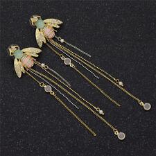 Women Lady Bee Tassel Pearls Dangle Earrings Long Ear Drop Glitter Jewelry