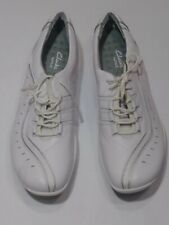 Clarks Wave Women's Size 11M White Leather Lace Up Walking Comfort Shoes