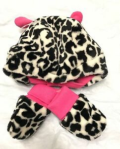 The Childrens Place Cow Print Hat and Mitten Set 3D Ears Infant Girls 6-12m NWT