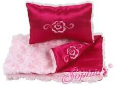 "Pink Fur & Satin Reversible Bedding Set for 18"" American Girl Dolls"