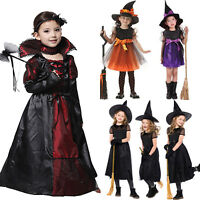Halloween Kids Girls Witch Vampire Costume Cosplay Fancy Dress Party Outfits