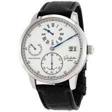 Glashutte Senator Chronometer Regulator Varnished Silver Graine Dial Mens Hand