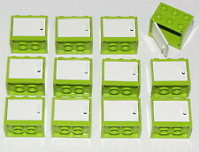 LEGO LOT OF 12 NEW LIME CUPBOARDS HOUSE CABINETRY WITH WHITE DOORS CONTAINERS