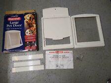 PetSafe Staywell Pet Door w/ Self Closing Magnetic Flap Lockable White Large Dog