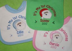 Personalised 1st First or Merry Christmas Xmas Baby Bib Santa choose colour 2019