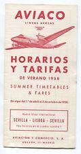 AVIACO TIMETABLE SUMMER 1958 HORARIOS SPAIN