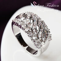 18K White Gold Plated Simulated Diamond Luxury Studded Crossover Band Ring