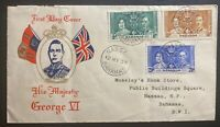 1937 Nassau Bahamas First Day Cover FDC King George VI Coronation KGVI Local