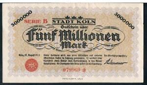 GERMANY NOTGELD STADT KOLN 2 MILLION MARKS 015 AUGUST 1923 AU SERIE A