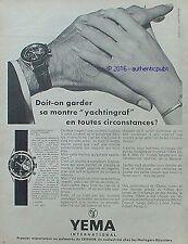 PUBLICITE YEMA MONTRE DE PLONGEE YACHTINGRAF MER DE 1968 FRENCH AD PUB VINTAGE