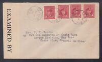 Canada 1944 WWII Censored Cover GLACE BAY Nova Scotia to COSTA RICA