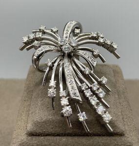 Schöne 585er Weißgold Brosche mit 52 Diamanten & Brillanten + Wertschätzung, TOP