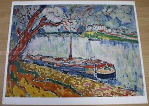 MAURICE DE VLAMINCK - BARGE ON THE SEINE * KUNSTKREIS LUCERNE ART PRINT 1968