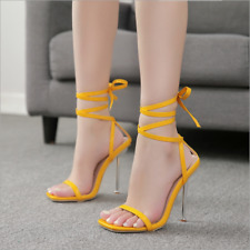 Womens Bright Peep Toe Cross Ankle Strap High Heel Stiletto Party Sandals Shoes