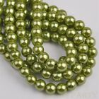 50pcs 8mm Pearl Round Glass Loose Spacer Beads Jewelry Making Olive Green
