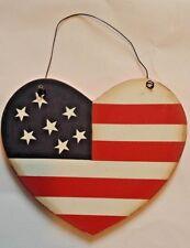HEART FLAG WOODEN SIGN WALL DECOR PLAQUE HOME DECOR ORNAMENT - NEW