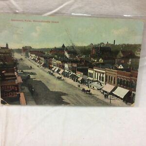 Vintage Postcard Aerial Massachusetts Street Scene Lawrence Kansas 1908