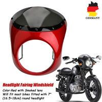 """Retro 7"""" Motorrad Scheinwerfer Verkleidung Lampenmaske für Harley Cafe Racer Rot"""