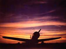 VINTAGE PHOTO MILITARY AIRCRAFT FIGHTER JET BOMB SILHOUETTE SUNSET PRINT CC5314