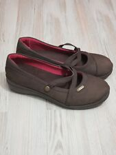 Crocs Women's 'Patricia' Brown Suede Leather Mary Jane Wedge Slip On Shoes US 9