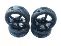 1:10 On Road Racing RC Car Rubber Wheels Tyres Rims Black 5 Spoke
