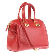FENDI Red Chameleon Satchel Cross body Bag Pebbles Leather Tote *Excellent*