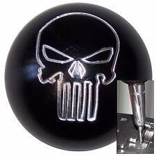 Black Aluminum Punisher Skull shift knob for Dodge Chrys auto stk w/ adapter
